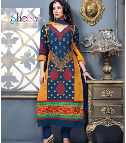 Rhythmic Blue and Yellow Churidar Kameez Suit with Bead Works and Floral Printing