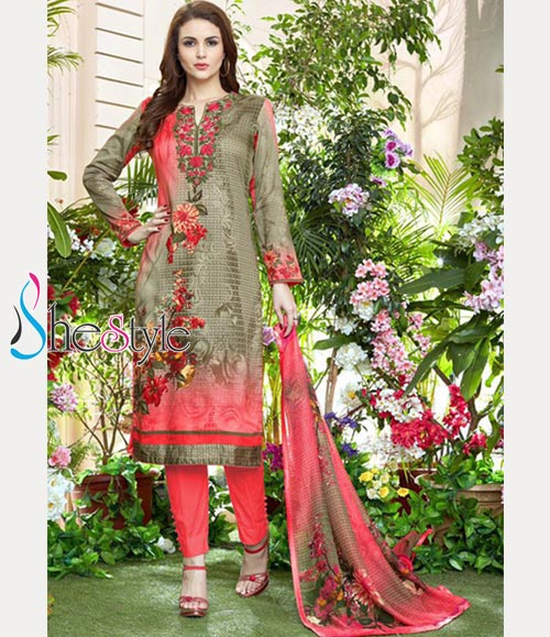Tremendous Salwar Material in Jam Satin with Embroidery Design Work