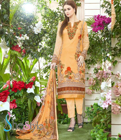 Stupendous Salwar Material in Jam Satin with Embroidery Design Work