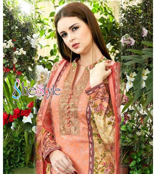 Light weight in nature and very pleasant, this peach stuff is excellent for Salwar Kameez