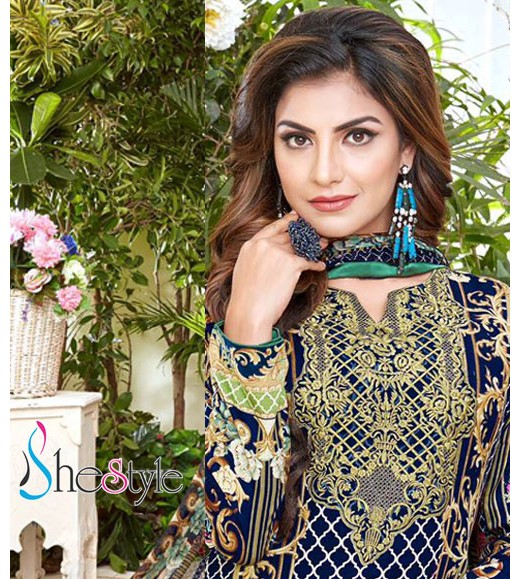 Outstanding Embroidery, Lawn Cotton Material in Blue