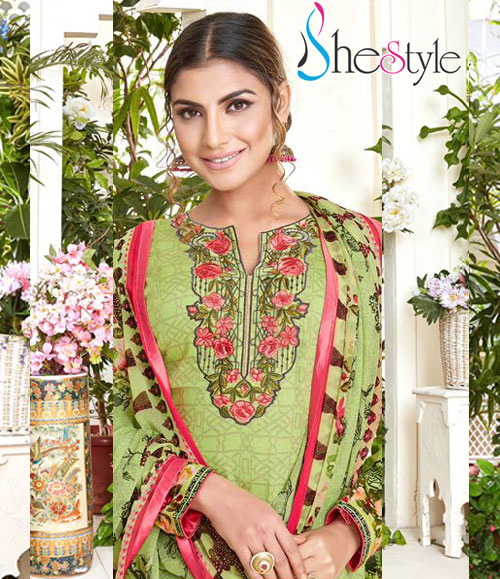 Fabulous Green Material in Lawn Cotton with Embroidery Design Work