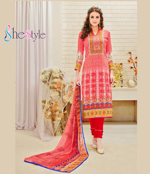 Extraordinary Cotton Digital Printed Salwar Material