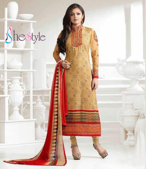 Presentable French Crepe Embroidered Salwar Suit