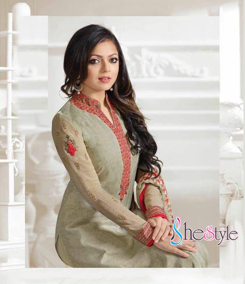 Cute Embroidered Salwar Suit in French Crepe