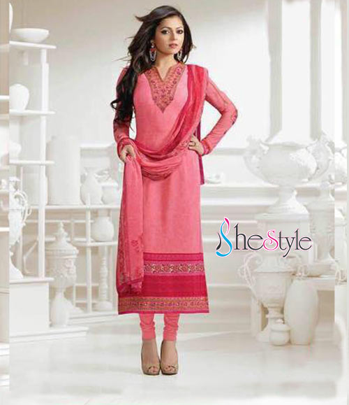 Thrilling Embroidered Salwar Suit in French Crepe