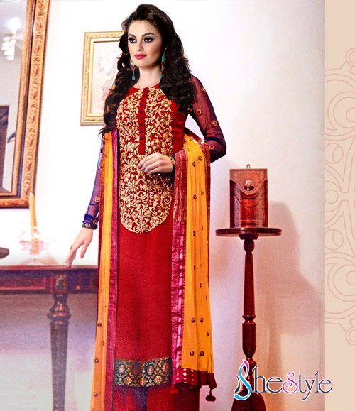 Appealing Red and Yellow Churidar Material with Blue Sleeves