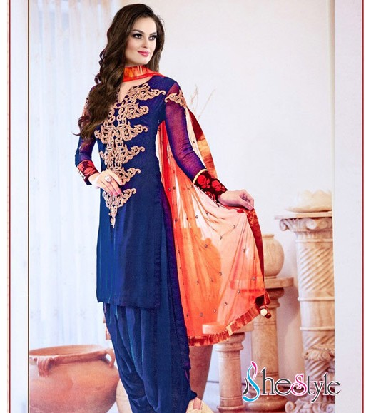 Tempting Blue Georgette Salwar kameez with Heavy work