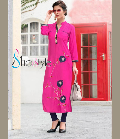 Attractive Rayon Cotton Kurti in Pink