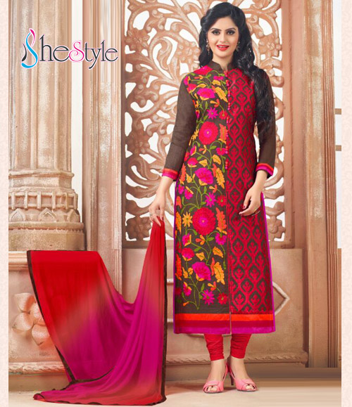 Alluring Party  Red with Floral Embroidered Salwar Suit