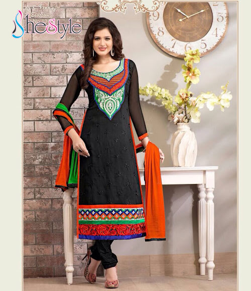 Black Embroidered Churidar Suit with Orange and Green Combination