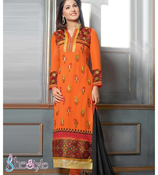 Orange Faux Georgette Pakistani Churidar Kameeez with Embroidery Work
