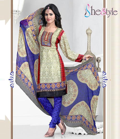 Biege Crepe Churidar Material with Red and Blue Combination