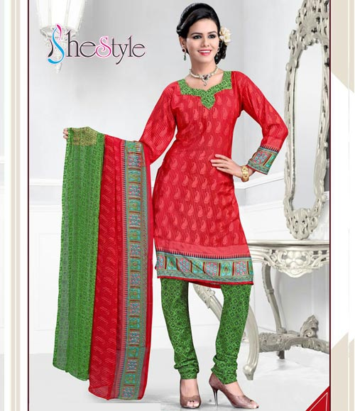 Charming Red and Green Combination Crepe Churidar Material with Printed Design