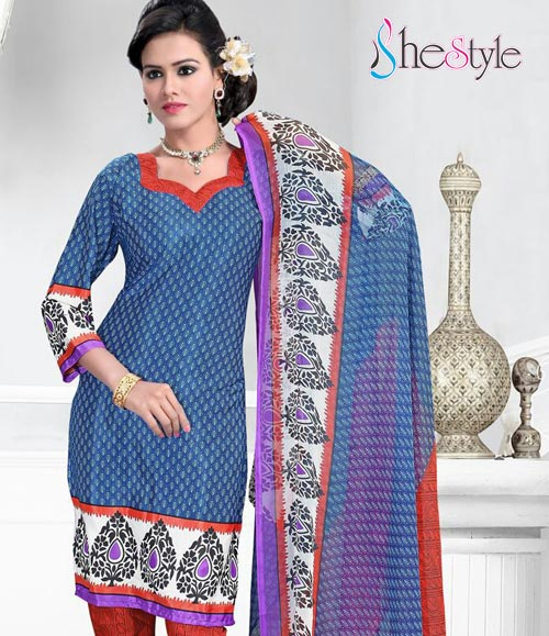 Jazzy Blue Crepe Churidar Material With Orange And White