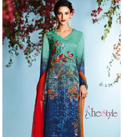 Charming  Satin Georgette Digital Printed Salwar Kameez Suit