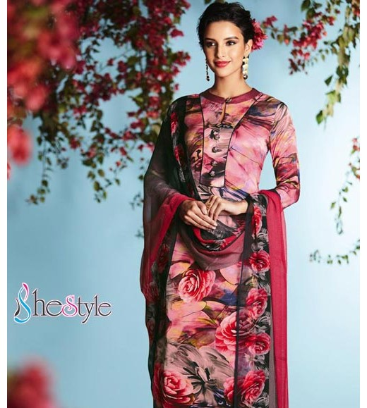 Enchanting  Satin Georgette printed Salwar Kameez Suit