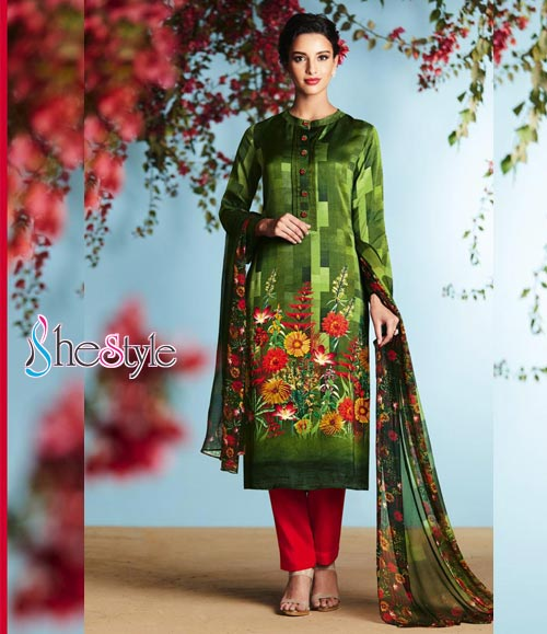 Olive Green Satin Georgette Salwar Kameez Suit with digital print work