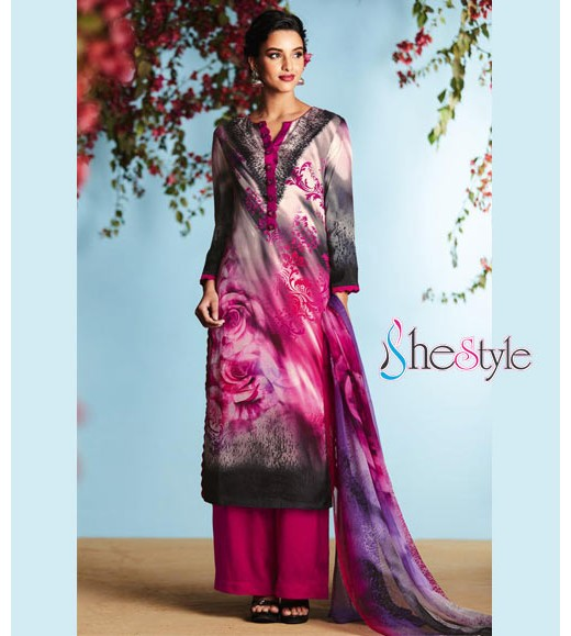 Stylish  Satin Georgette Digital Printed Salwar Kameez Suit