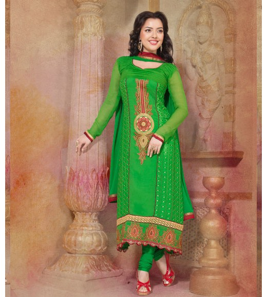 Green Embroidered Georgette Churidar Suit
