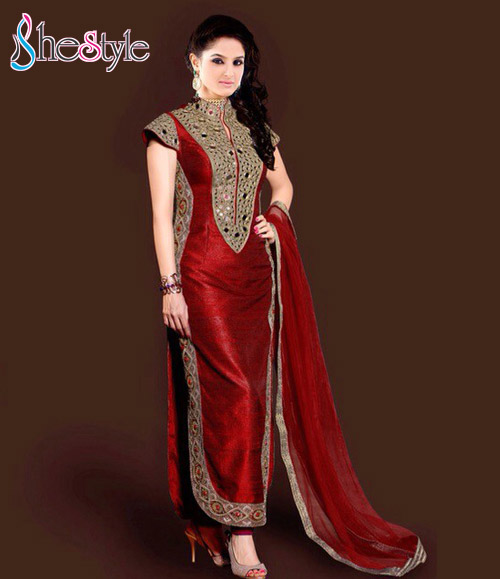 Bhagalpuri Silk Party Maroon Churidar Suit with Embroidery and Lace Work