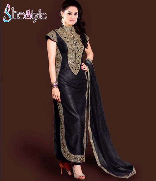 Sensational Bhagalpuri Silk Embroidered Black Salwar Suit with Embroidery