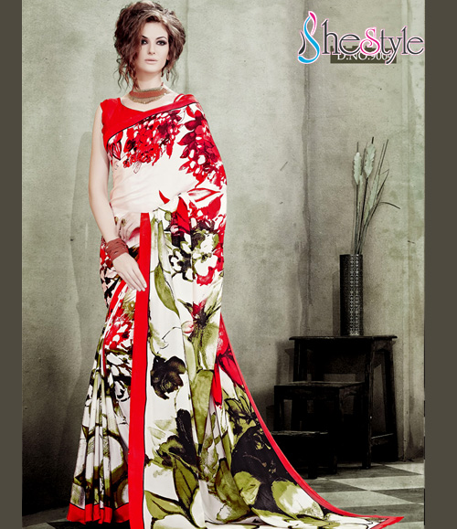 Crepe Silk Saree with Party Red and White with floral digital Printing