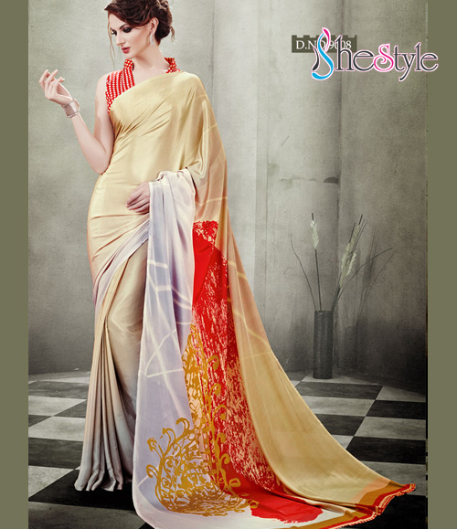Exceptional Beige and Red Floral Printed Crepe Silk Saree
